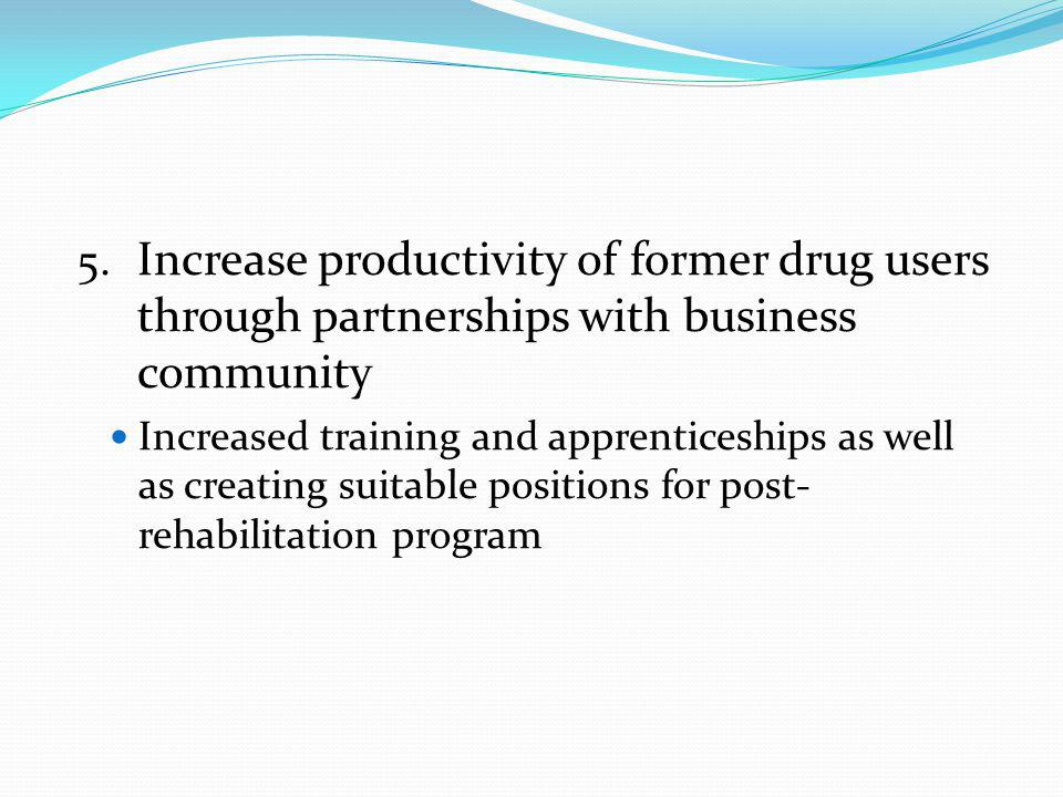 Increase productivity of former drug users through partnerships with business community