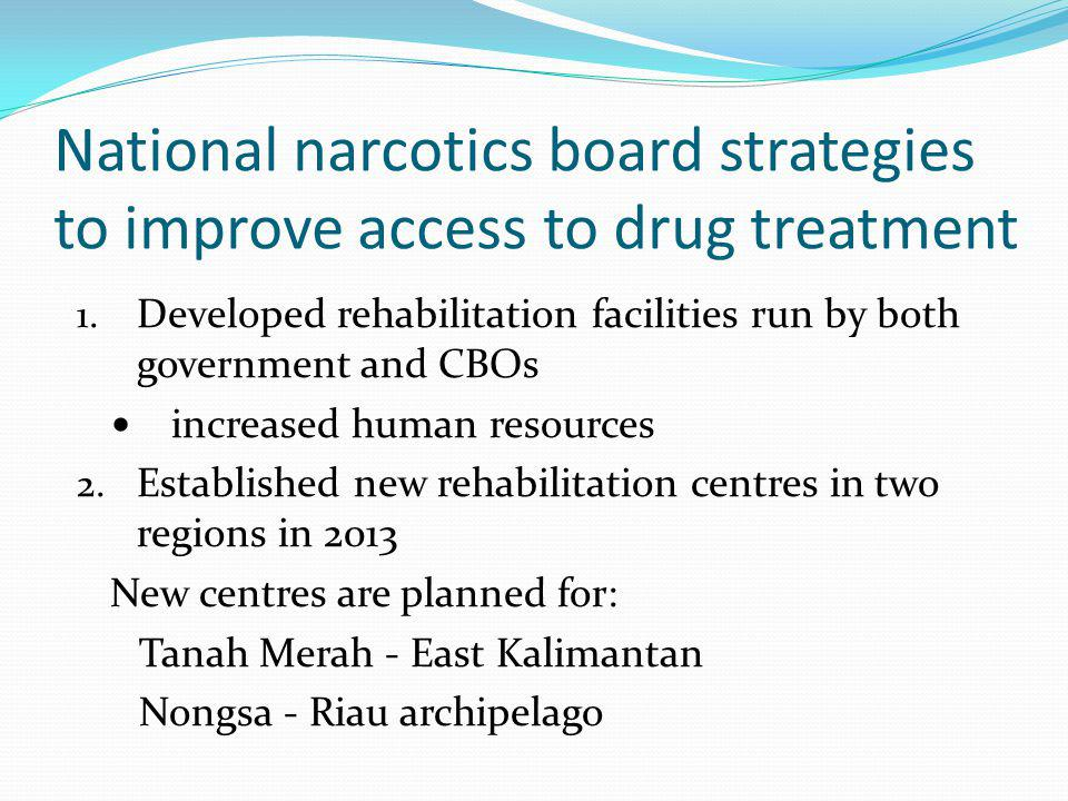 National narcotics board strategies to improve access to drug treatment