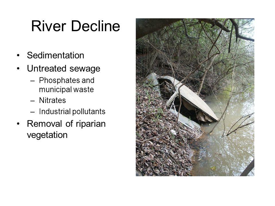 River Decline Sedimentation Untreated sewage