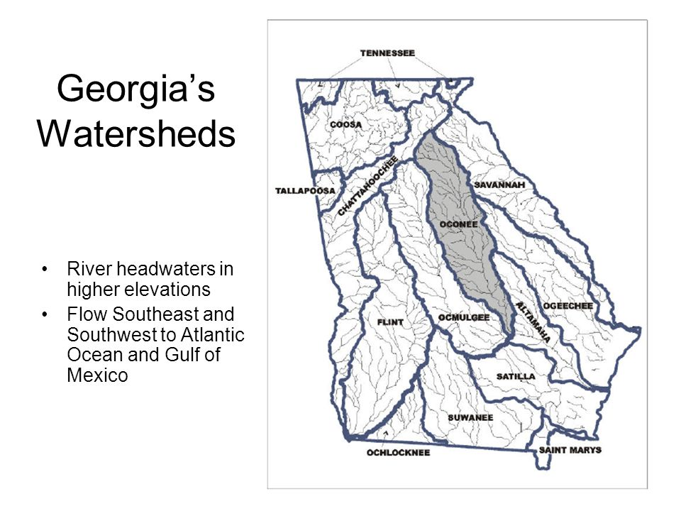 Georgia's Watersheds River headwaters in higher elevations