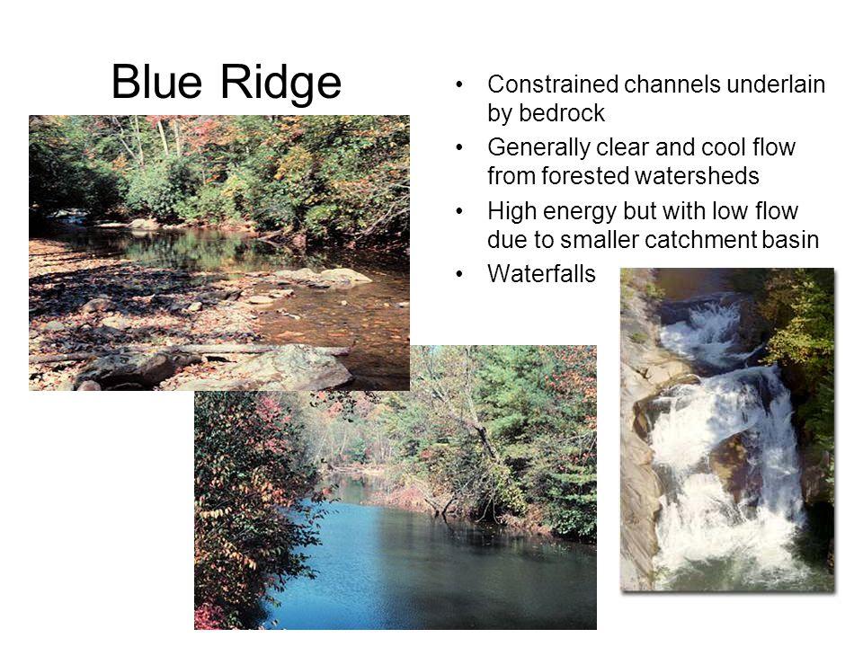 Blue Ridge Constrained channels underlain by bedrock