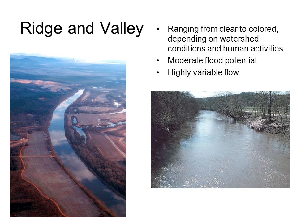 Ridge and Valley Ranging from clear to colored, depending on watershed conditions and human activities.