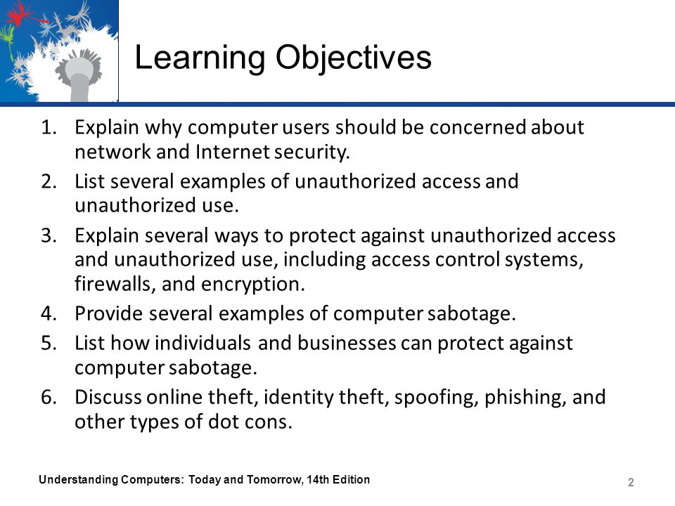 Learning Objectives Explain why computer users should be concerned about network and Internet security.
