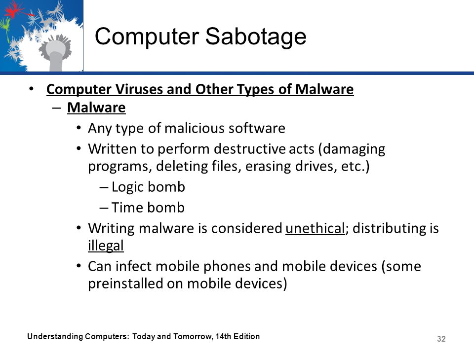 Computer Sabotage Computer Viruses and Other Types of Malware Malware