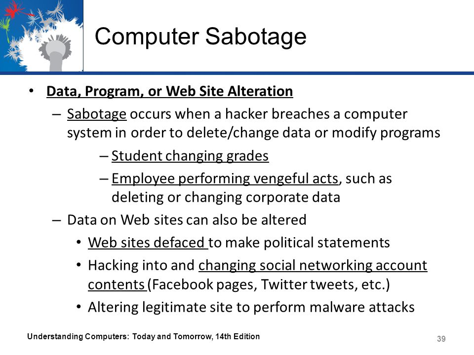 Computer Sabotage Data, Program, or Web Site Alteration