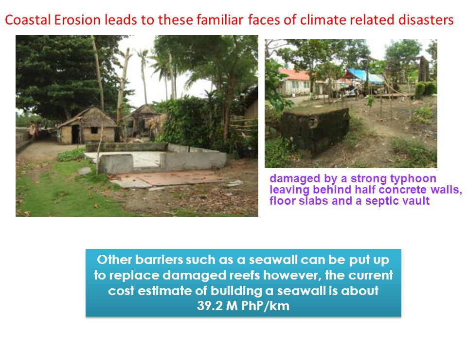 Coastal Erosion leads to these familiar faces of climate related disasters