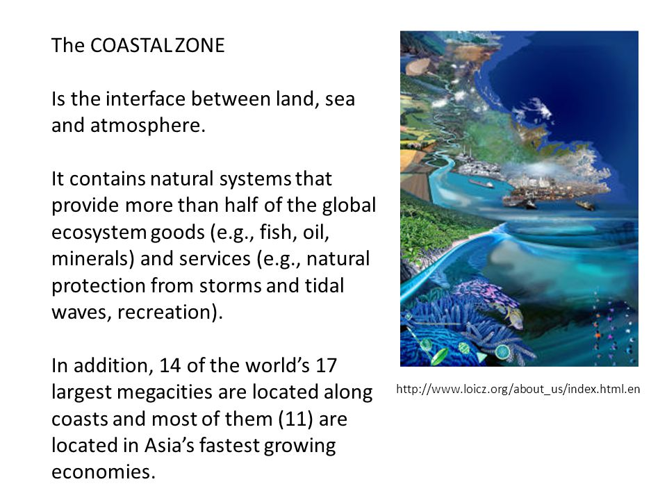 Is the interface between land, sea and atmosphere.