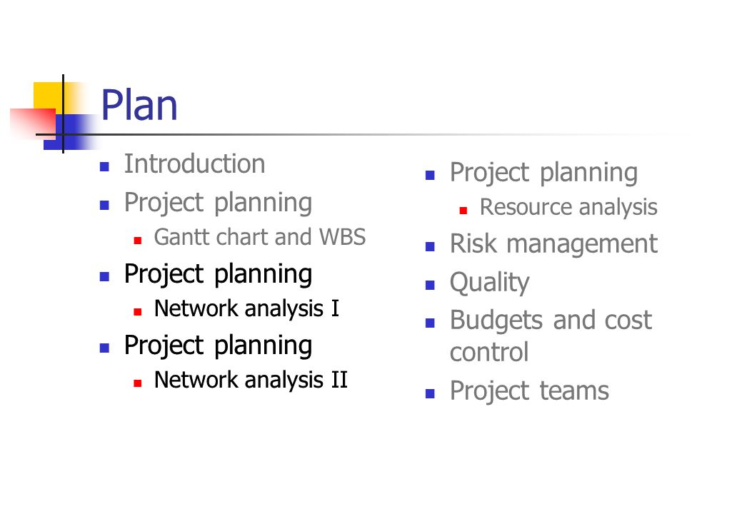 Plan Introduction Project planning Project planning Risk management