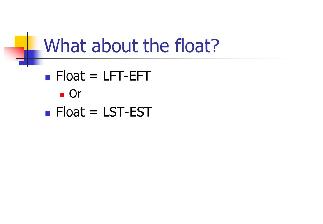 What about the float Float = LFT-EFT Or Float = LST-EST
