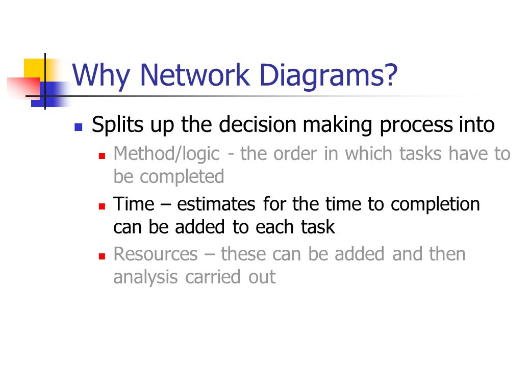 Why Network Diagrams Splits up the decision making process into