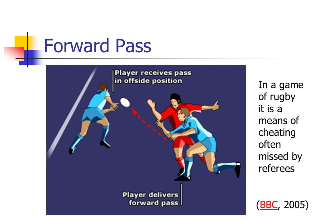 Forward Pass In a game of rugby it is a means of cheating often missed by referees (BBC, 2005)