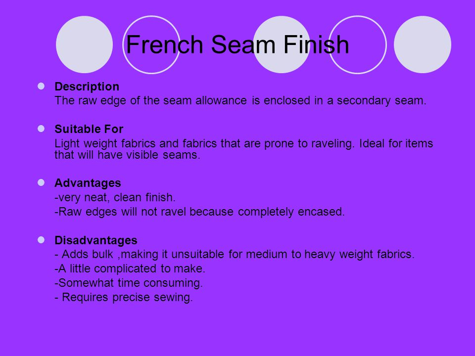 French Seam Finish Description