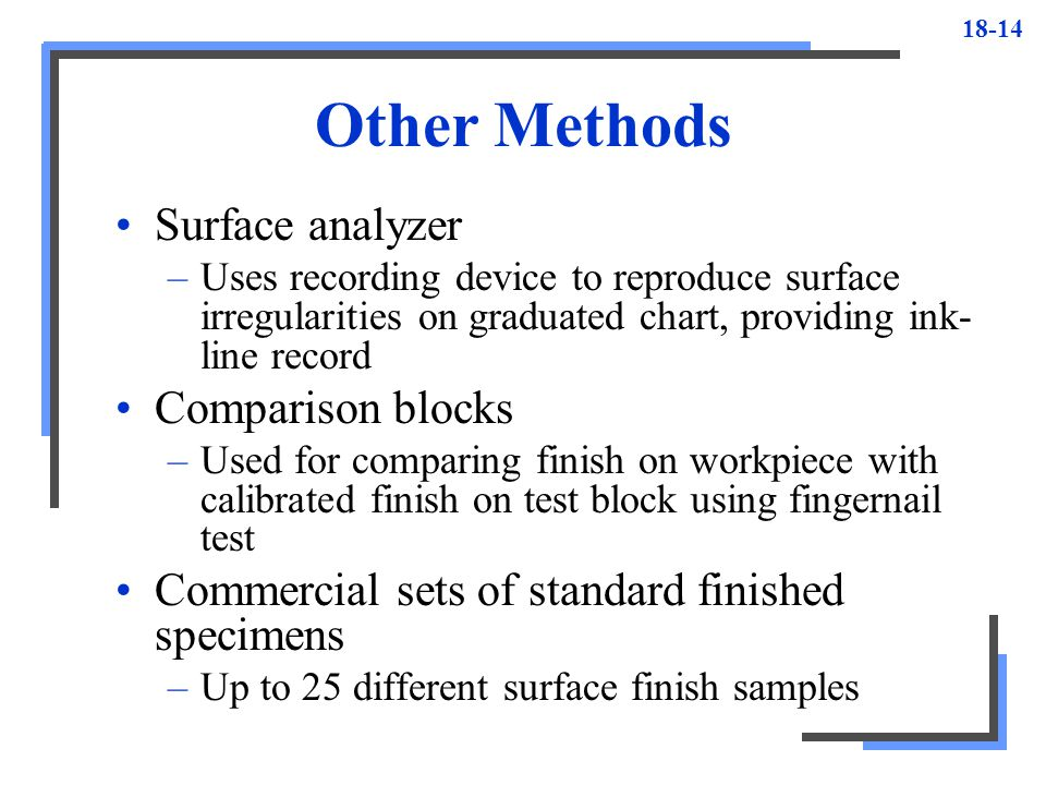 Other Methods Surface analyzer Comparison blocks