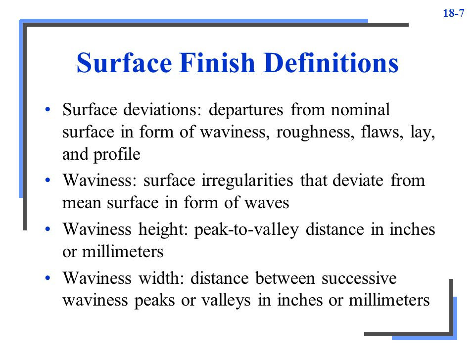 Surface Finish Definitions