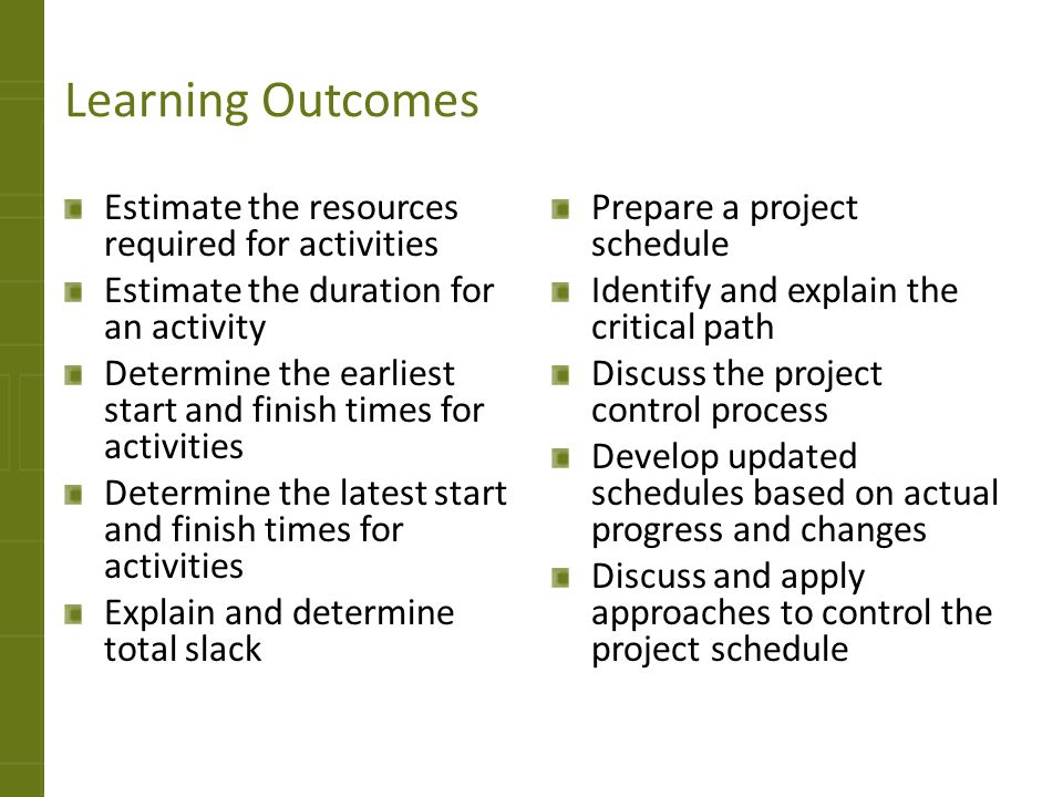 Learning Outcomes Estimate the resources required for activities