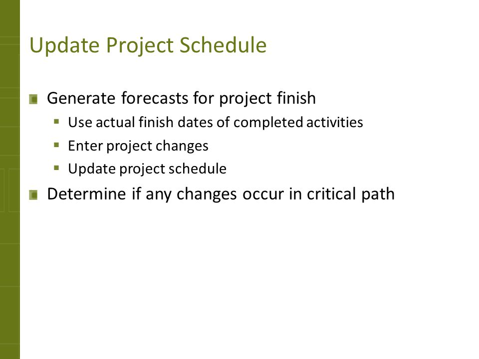 Update Project Schedule