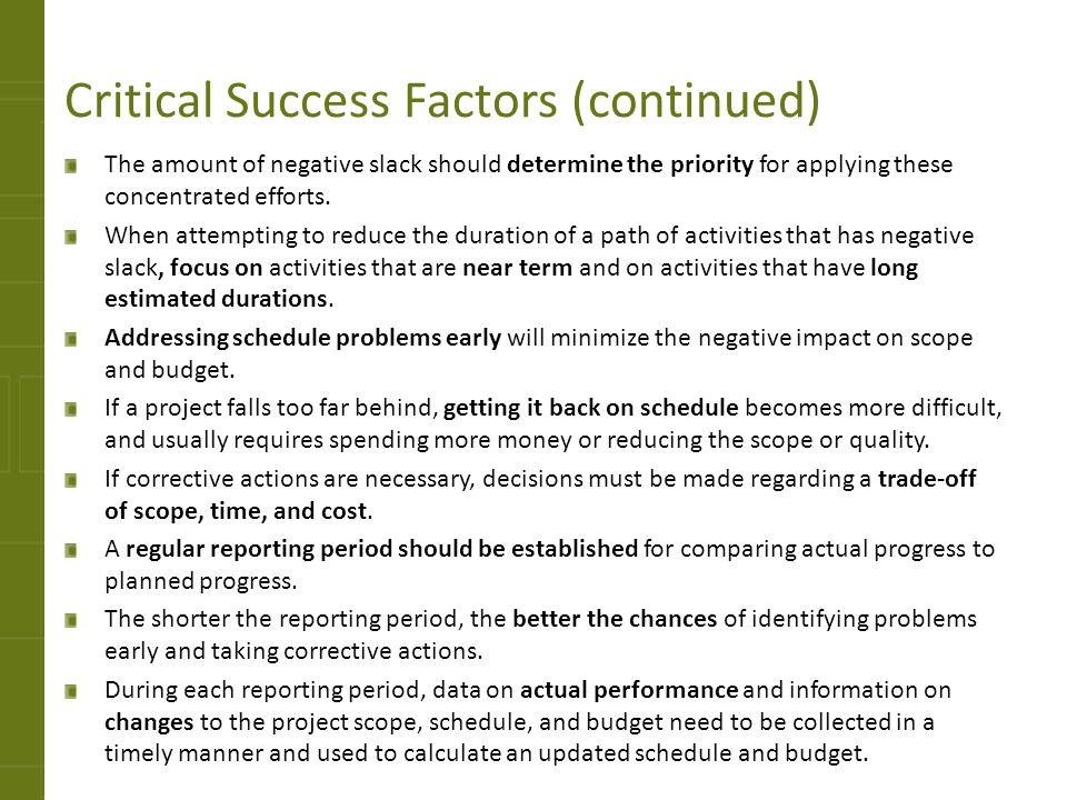 Critical Success Factors (continued)
