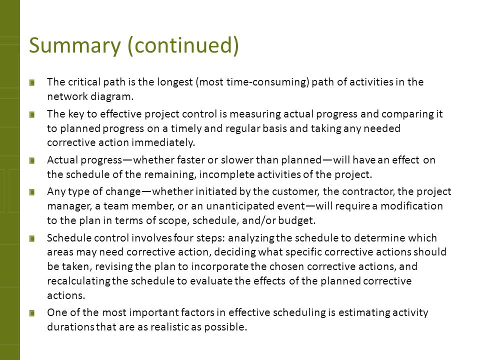 Summary (continued) The critical path is the longest (most time-consuming) path of activities in the network diagram.