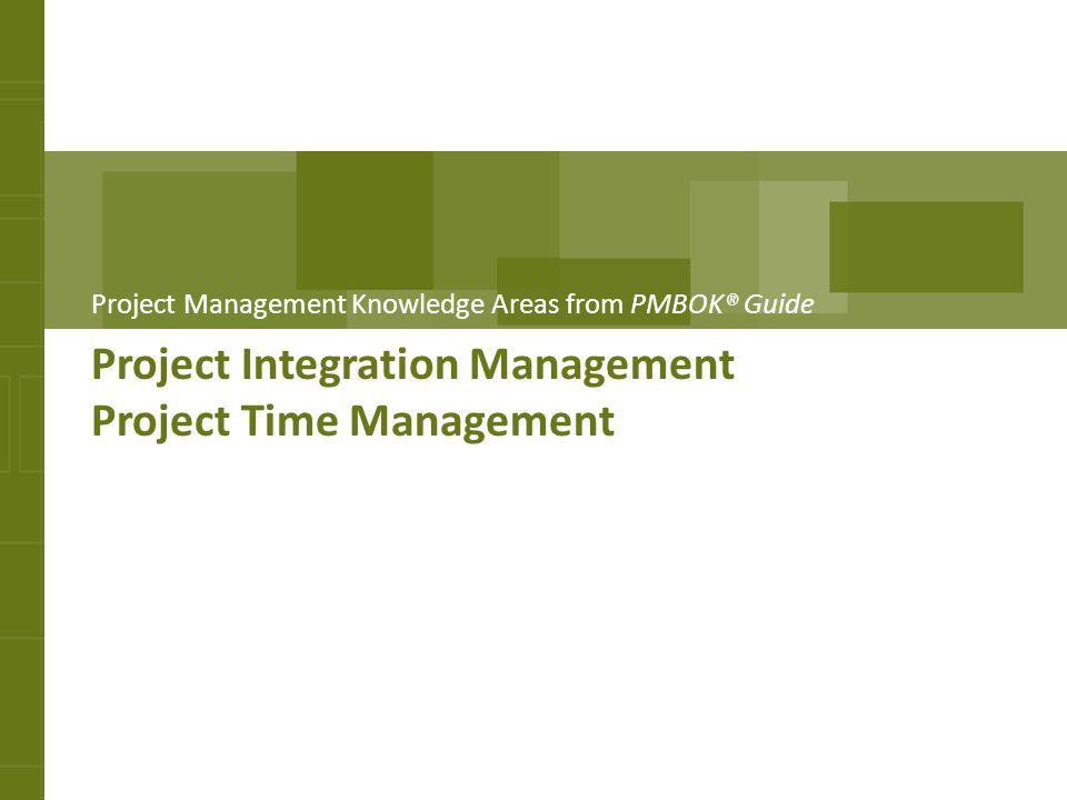 Project Integration Management Project Time Management