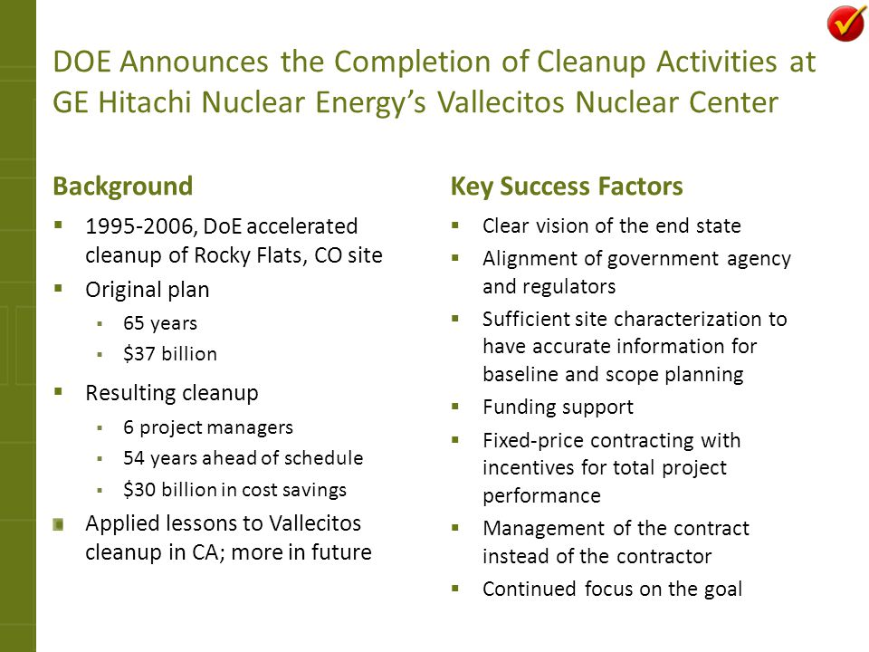 DOE Announces the Completion of Cleanup Activities at GE Hitachi Nuclear Energy's Vallecitos Nuclear Center