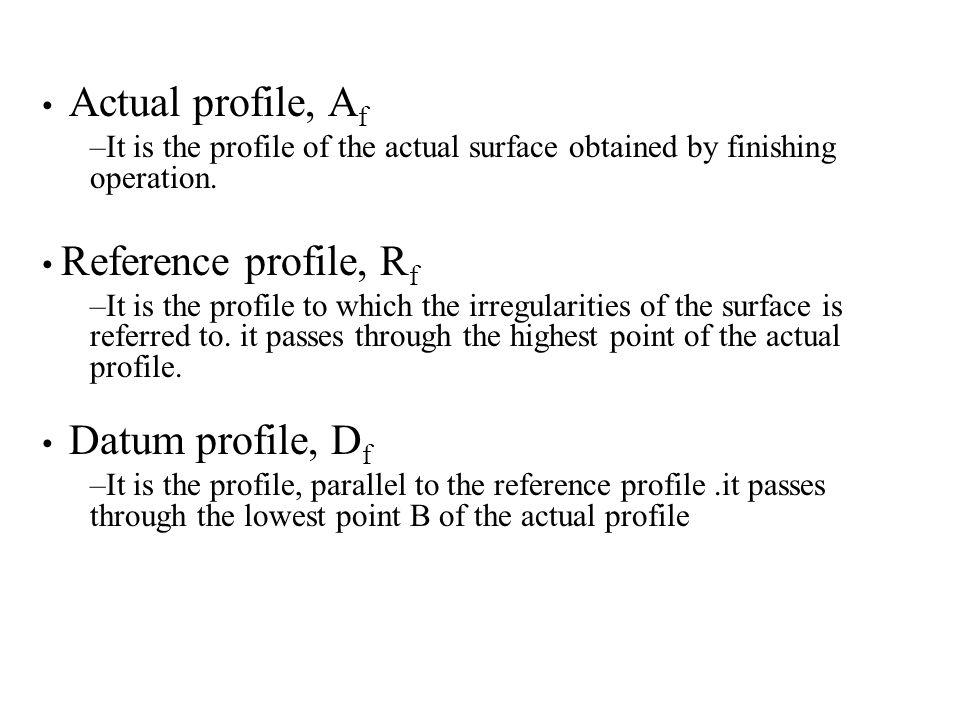 Actual profile, Af It is the profile of the actual surface obtained by finishing operation. Reference profile, Rf.