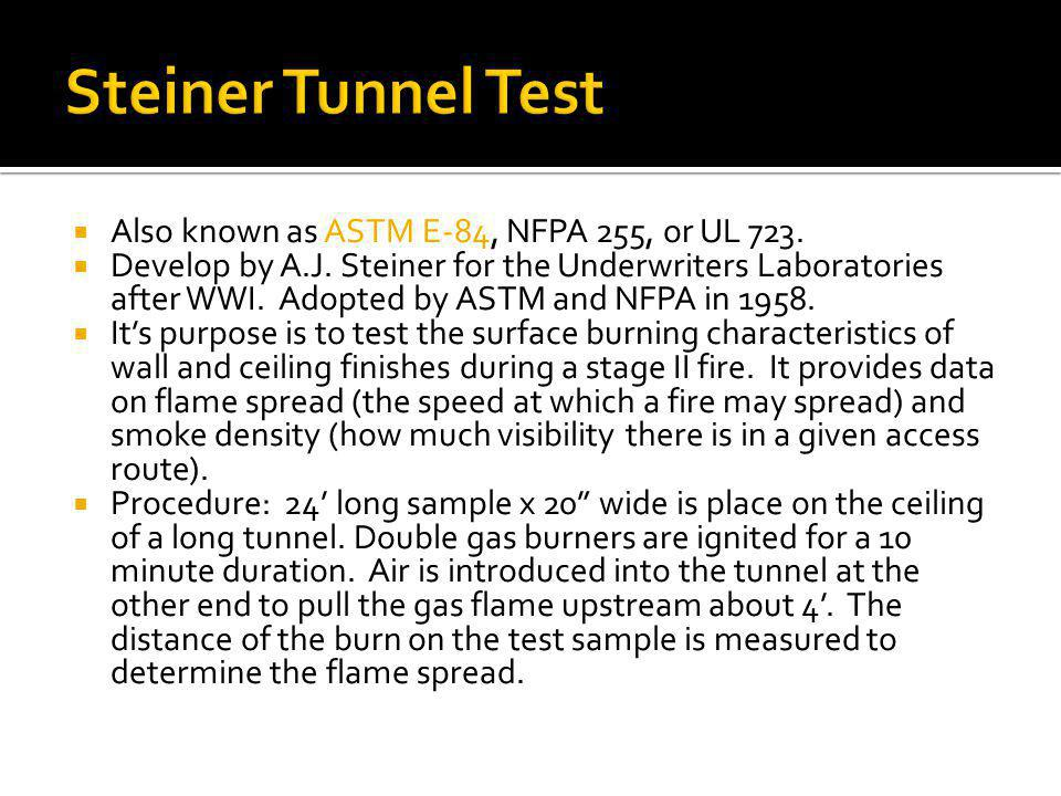 Steiner Tunnel Test Also known as ASTM E-84, NFPA 255, or UL 723.