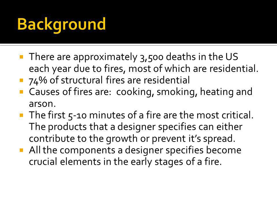 Background There are approximately 3,500 deaths in the US each year due to fires, most of which are residential.
