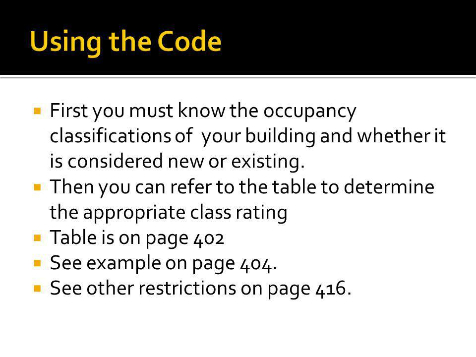 Using the Code First you must know the occupancy classifications of your building and whether it is considered new or existing.