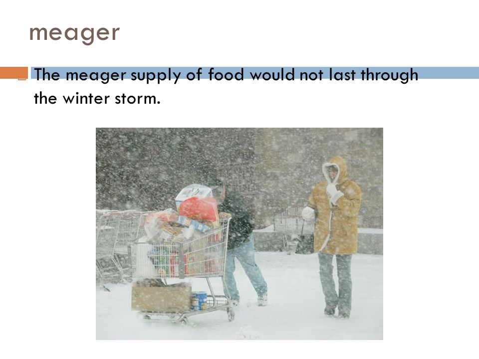 meager The meager supply of food would not last through the winter storm.