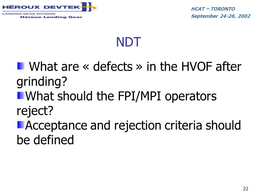 NDT What are « defects » in the HVOF after grinding