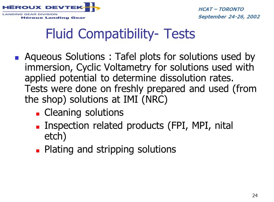 Fluid Compatibility- Tests