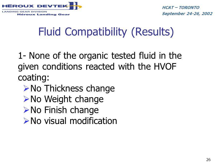 Fluid Compatibility (Results)