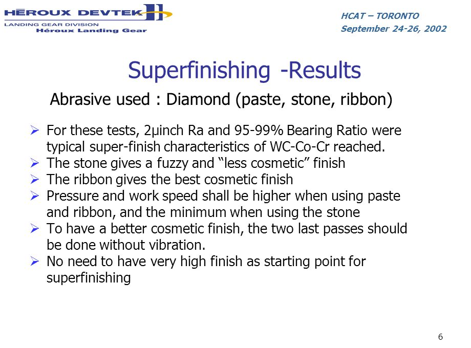 Superfinishing -Results
