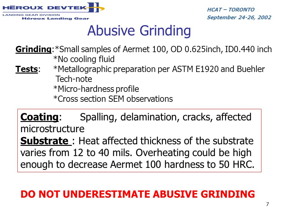 Abusive Grinding Grinding:*Small samples of Aermet 100, OD 0.625inch, ID0.440 inch. *No cooling fluid.