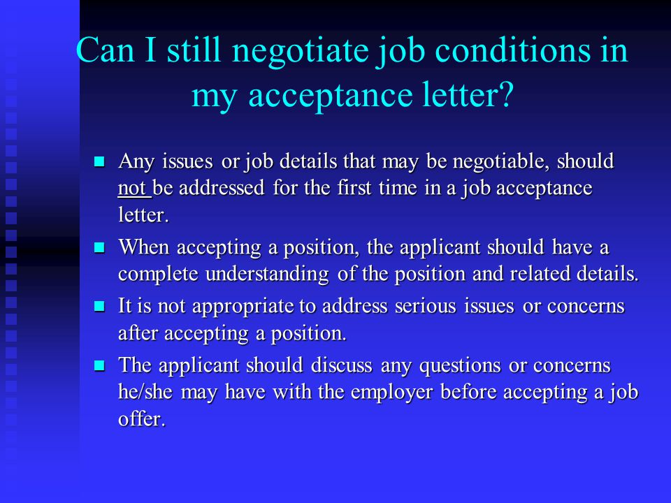 Can I still negotiate job conditions in my acceptance letter