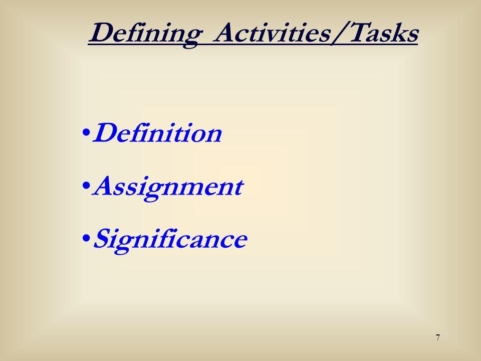 Defining Activities/Tasks