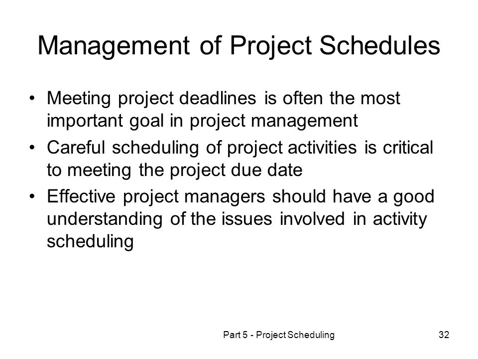 Management of Project Schedules