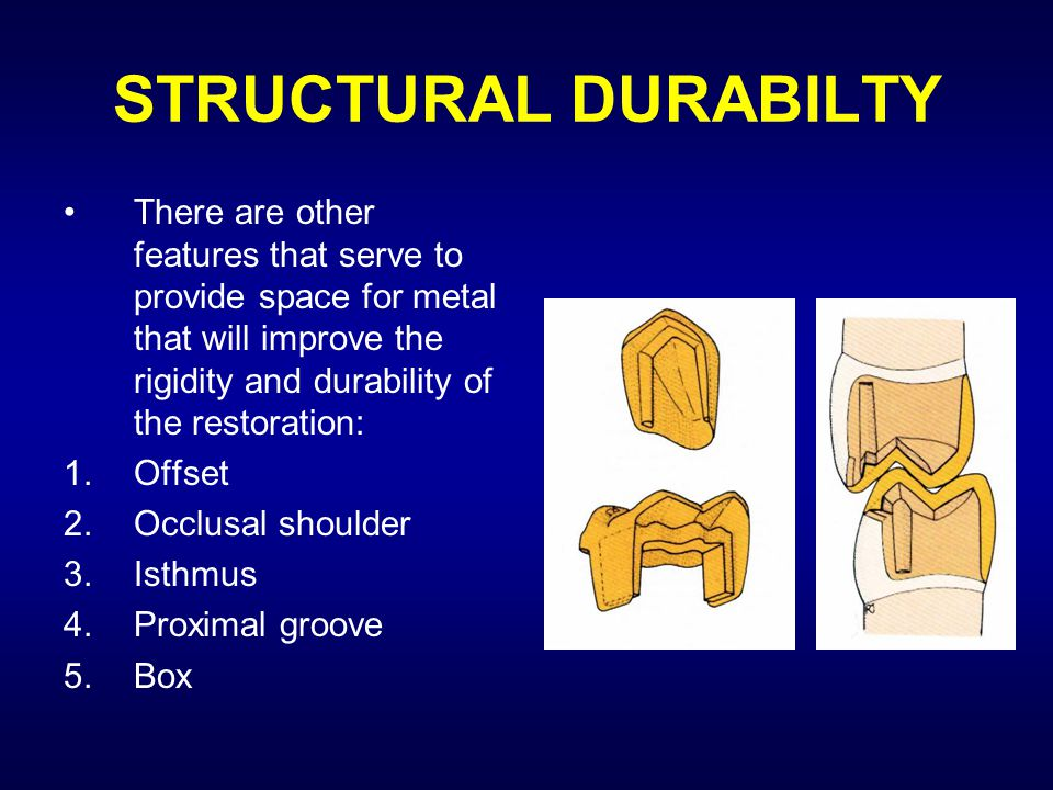 STRUCTURAL DURABILTY There are other features that serve to provide space for metal that will improve the rigidity and durability of the restoration: