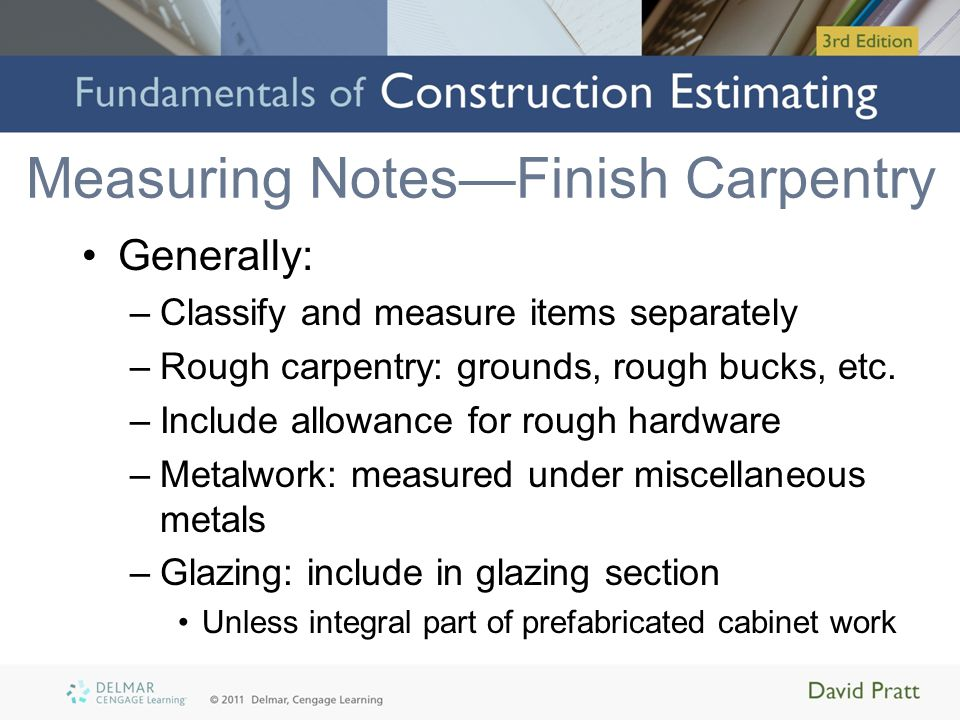 Measuring Notes—Finish Carpentry