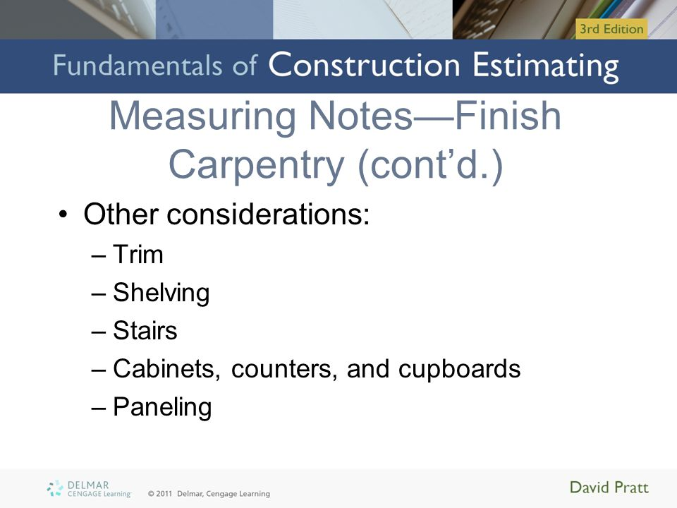 Measuring Notes—Finish Carpentry (cont'd.)