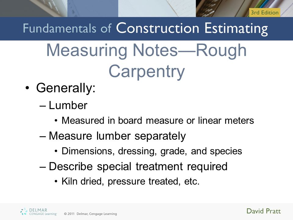 Measuring Notes—Rough Carpentry