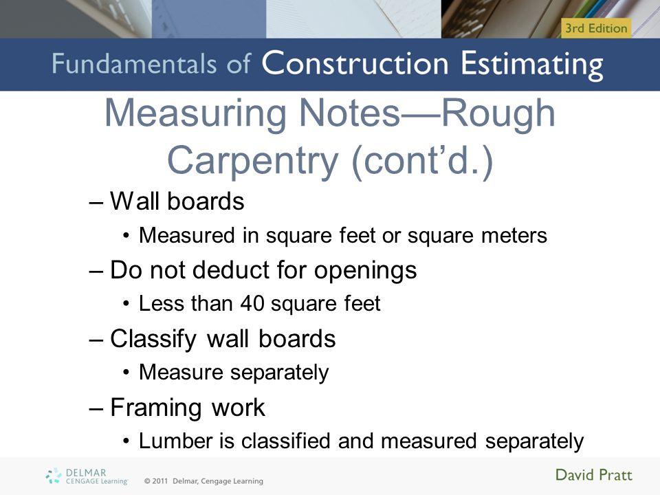 Measuring Notes—Rough Carpentry (cont'd.)