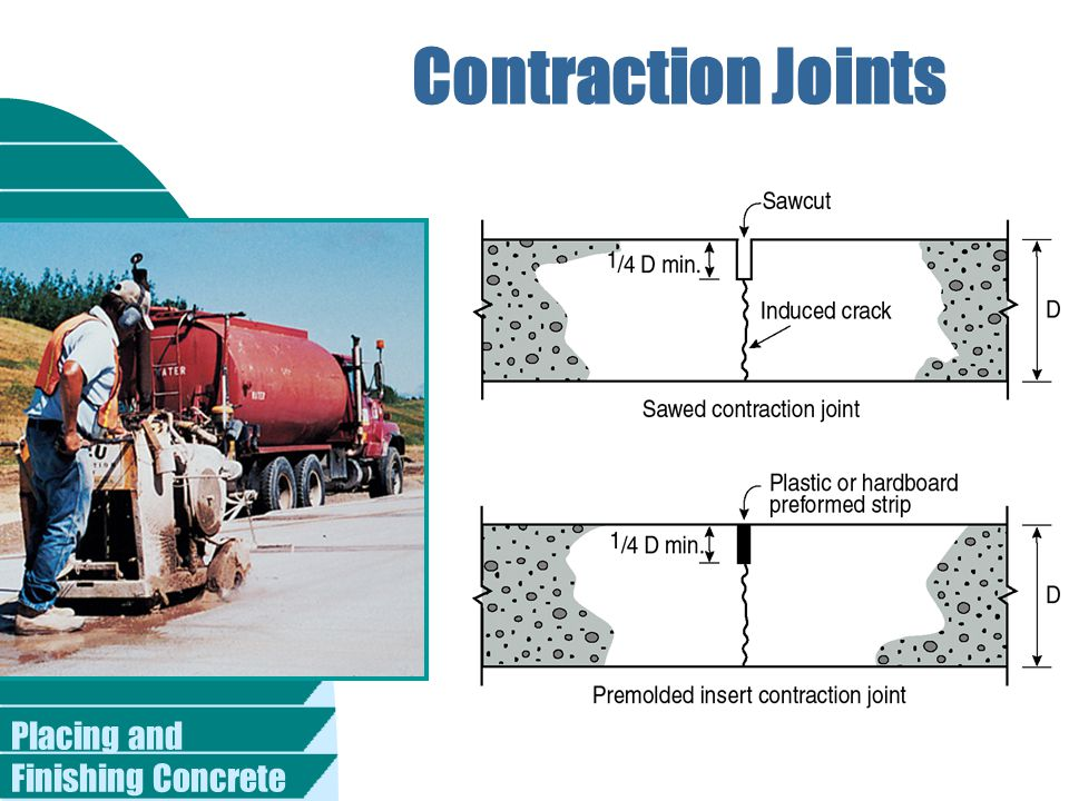 Contraction Joints Placing and Finishing Concrete