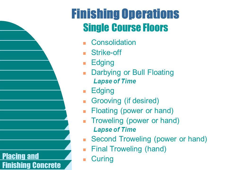 Finishing Operations Single Course Floors Consolidation Strike-off