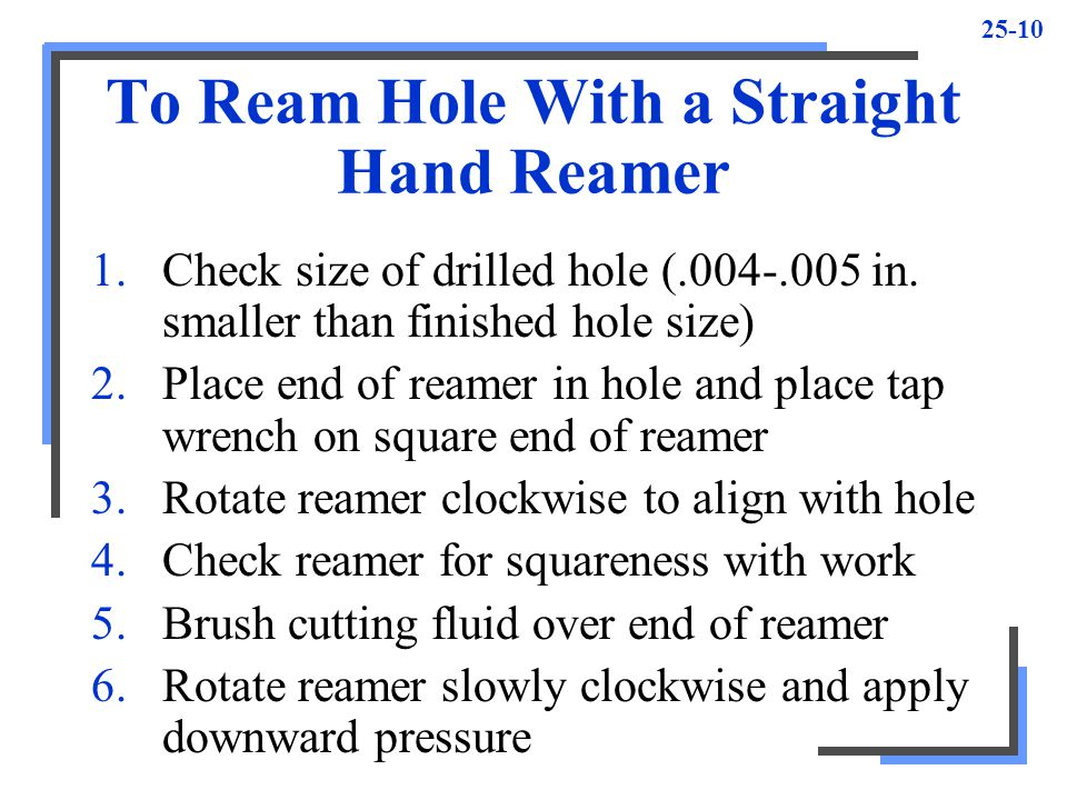 To Ream Hole With a Straight Hand Reamer
