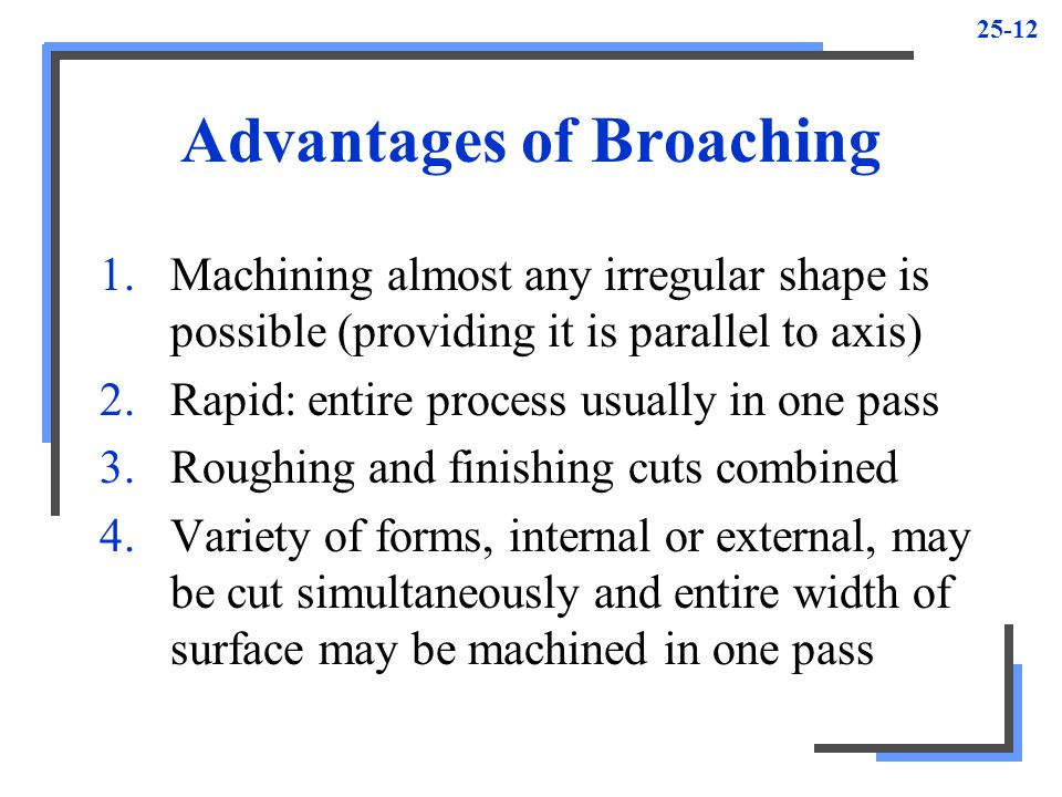 Advantages of Broaching