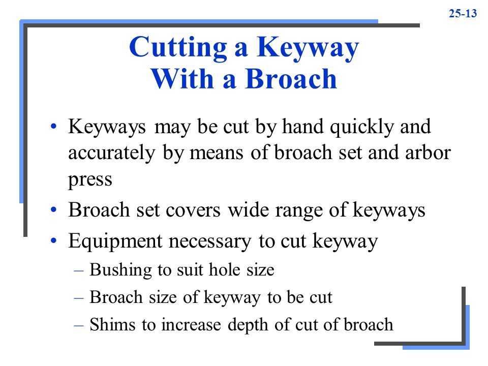 Cutting a Keyway With a Broach