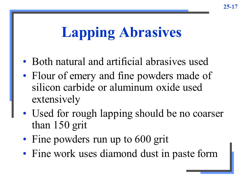 Lapping Abrasives Both natural and artificial abrasives used