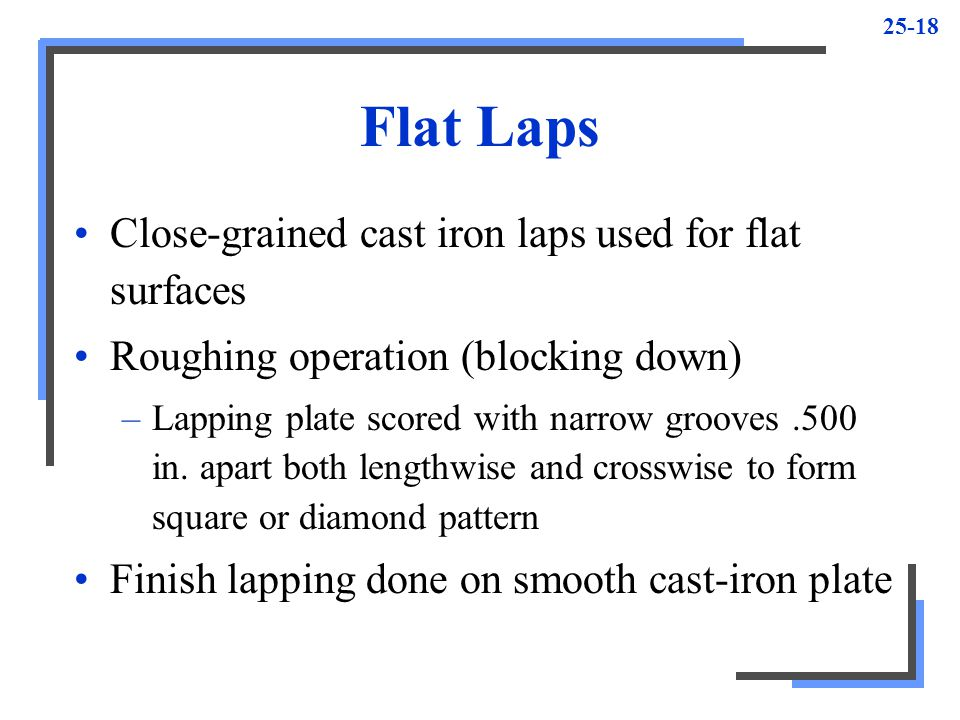 Flat Laps Close-grained cast iron laps used for flat surfaces
