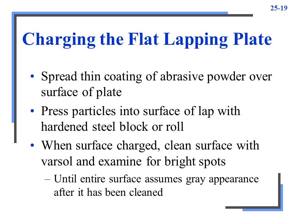 Charging the Flat Lapping Plate